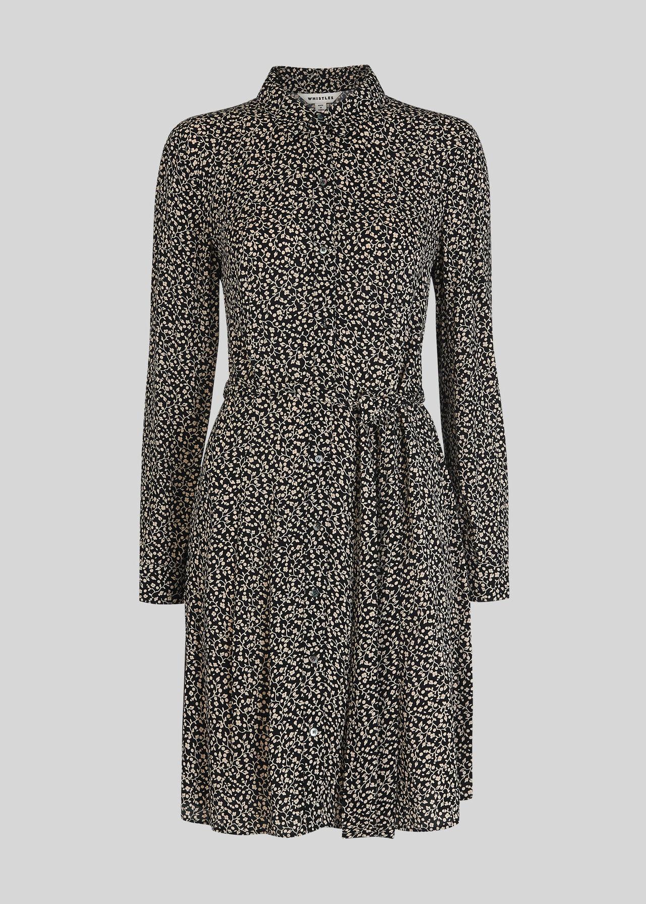 Autumn Floral Shirt Dress Black/Multi