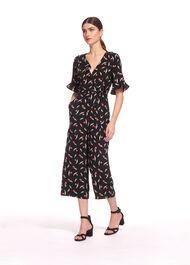 Alma Tulip Print Wrap Jumpsuit Black/Multi