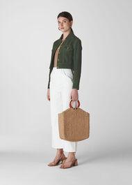 Grace Cropped Suede Jacket Khaki