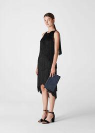 Evena Fringe Detail Dress Black