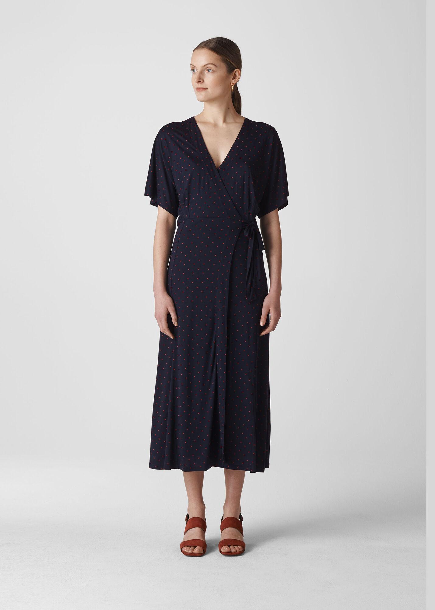 Spot Wrap Jersey Dress