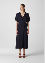 Spot Wrap Jersey Dress Navy/Multi
