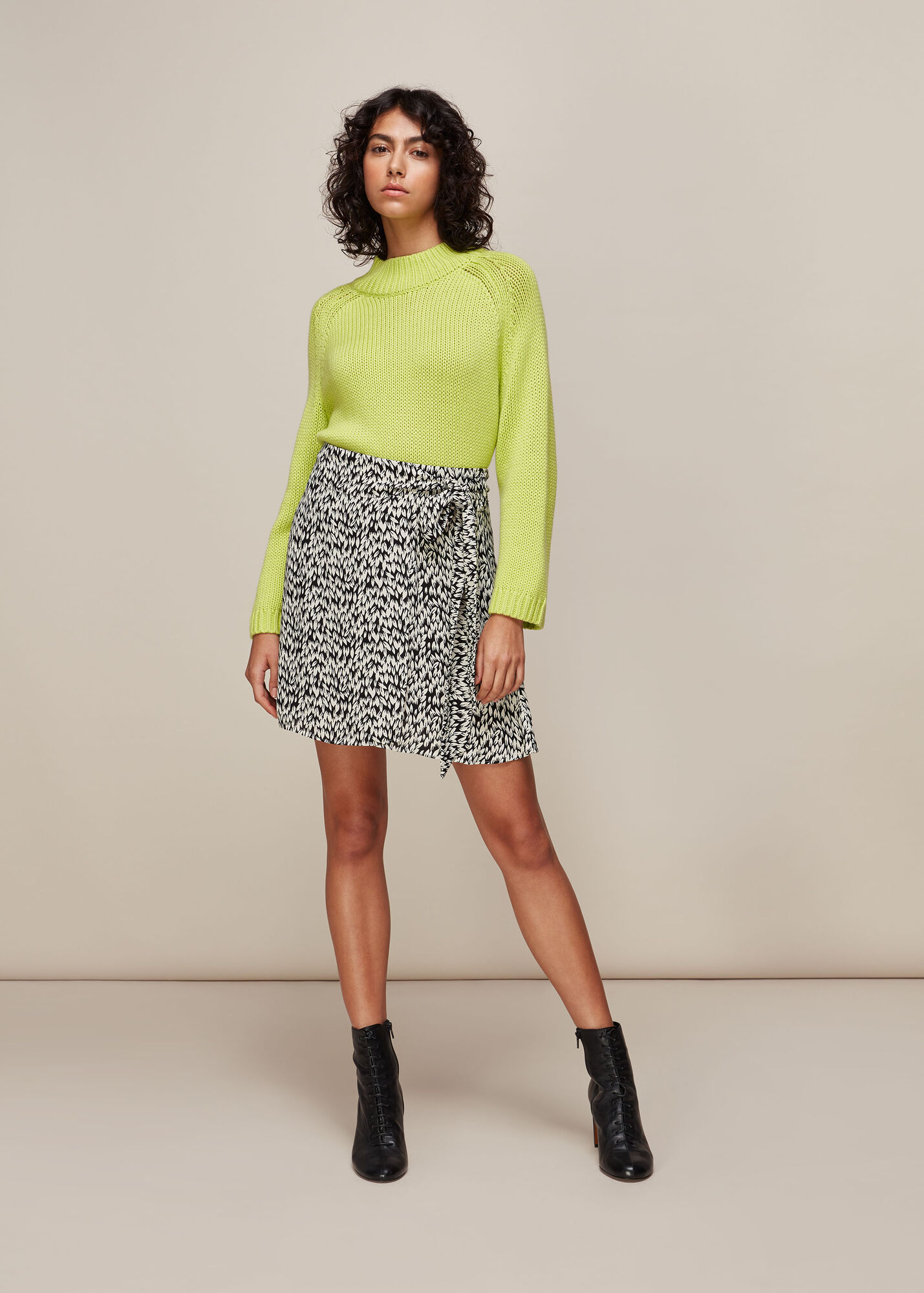Petal Print Wrap Skirt