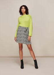 Petal Print Wrap Skirt Black/White