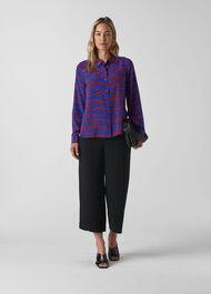 Tiger Print Silk Shirt Red/Multi