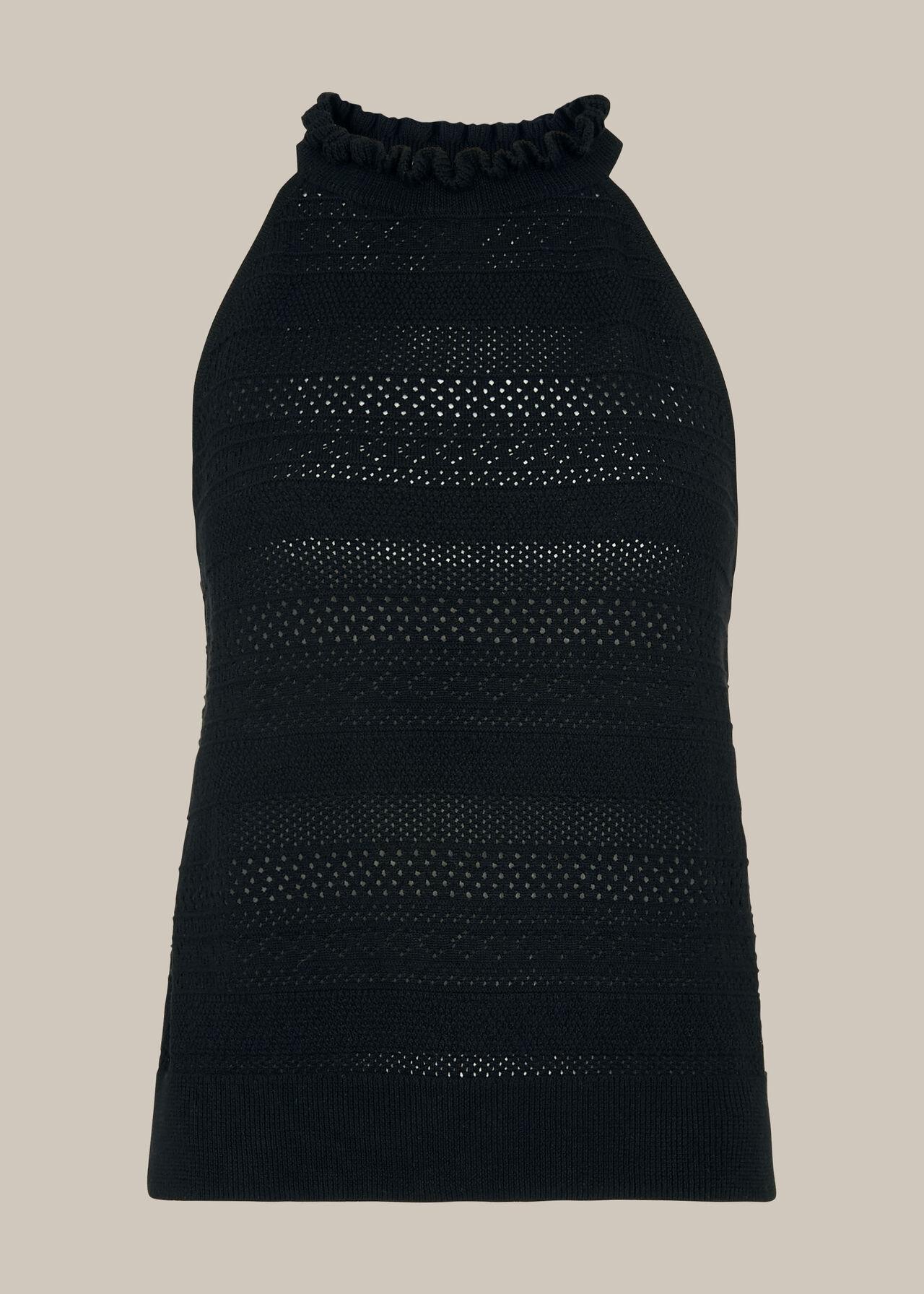 Pointelle High Neck Knit