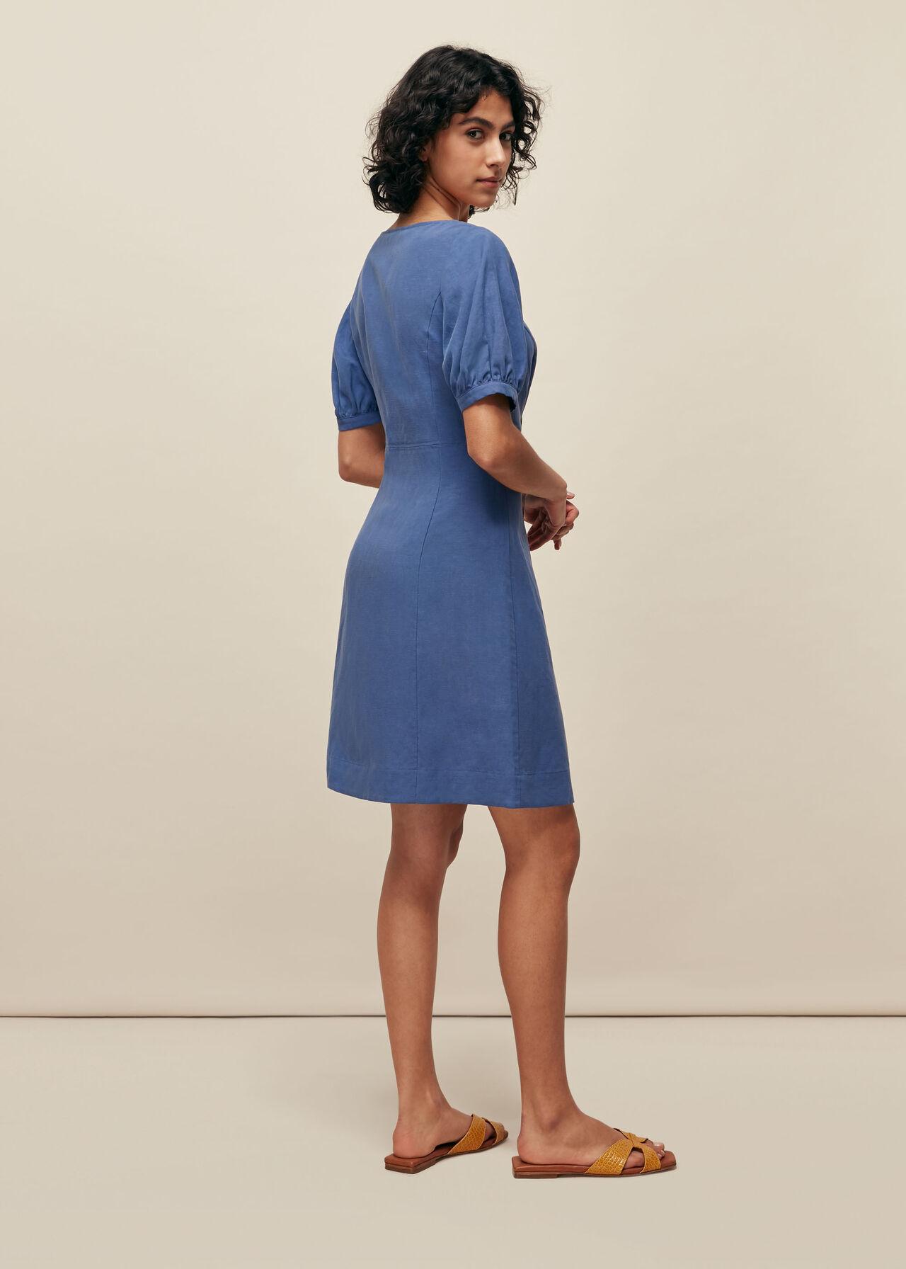 Tara Scoop Linen Mix Dress Blue