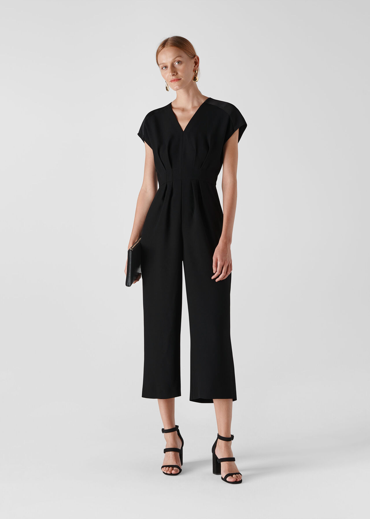 Mia Satin Mix Jumpsuit Black