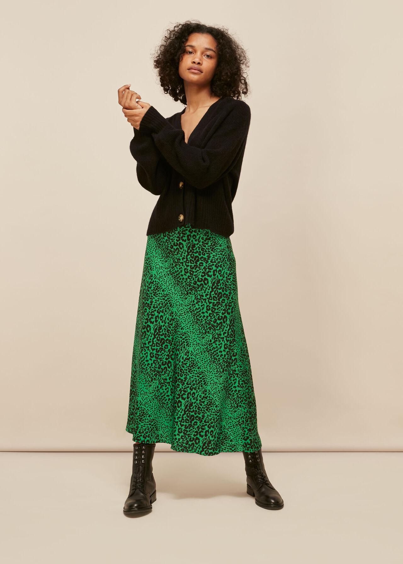 Speckled Animal Bias Cut Skirt