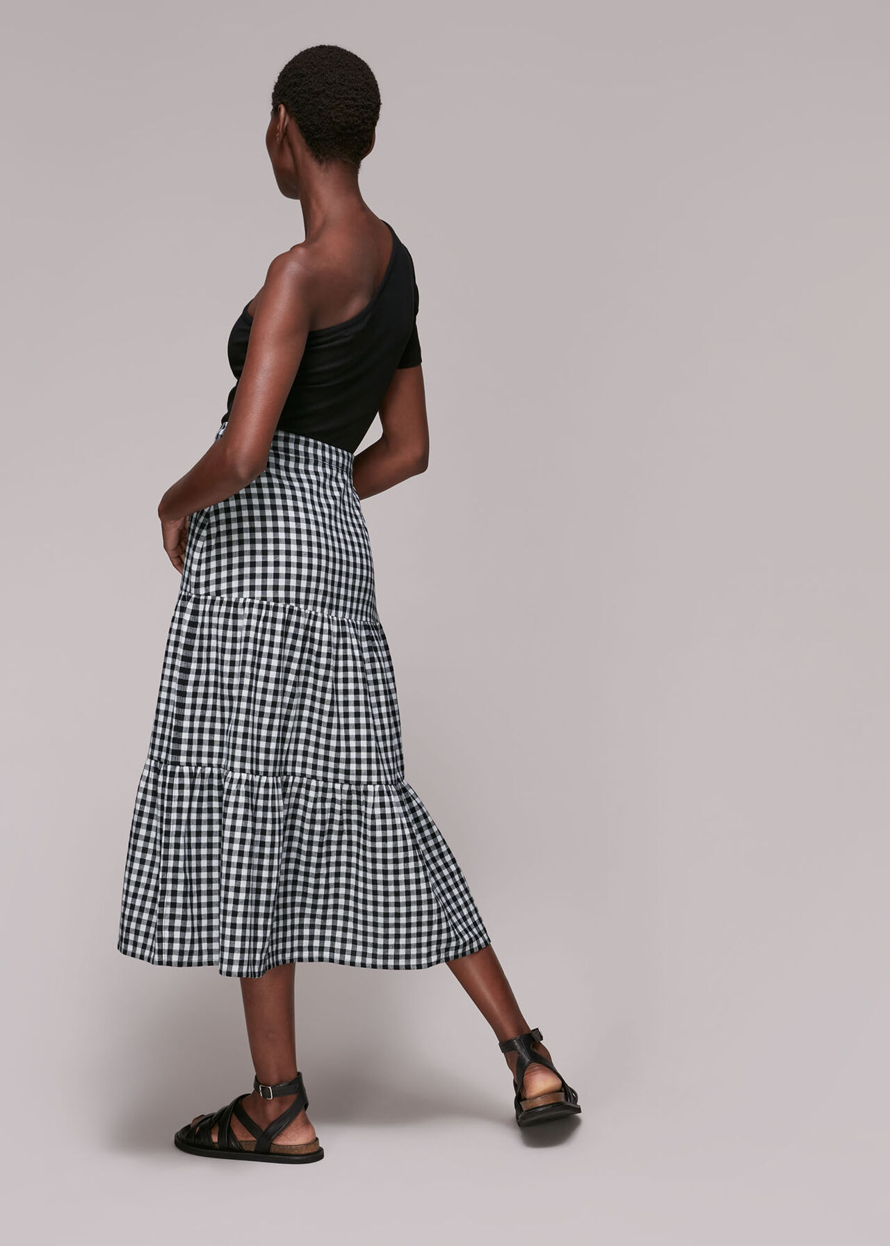 Tiered Gingham Skirt