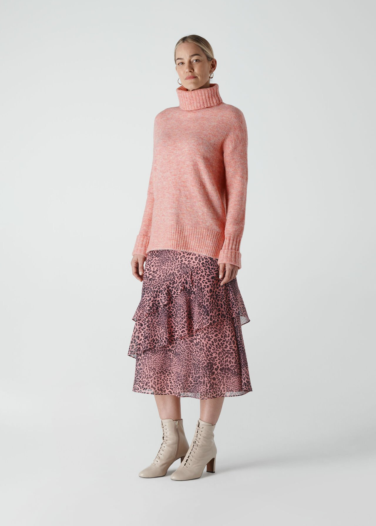 Oversized Roll Neck Pale Pink