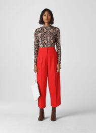 Sophie Pleat Front Peg Trouser Red