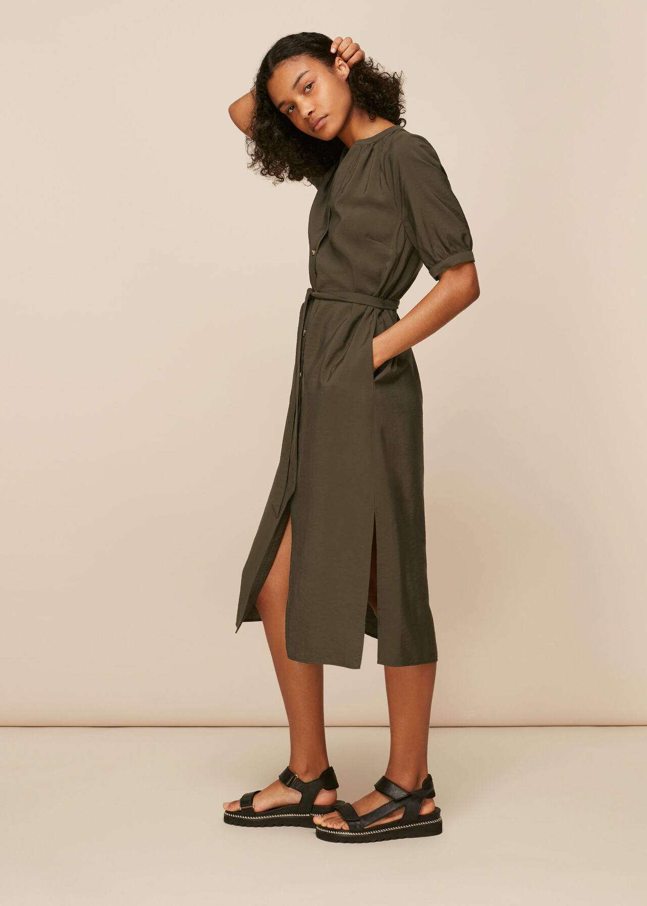 Olivia Button Midi Dress
