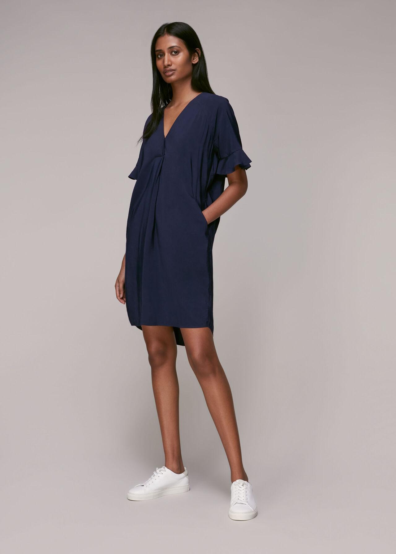 Navy Alba Dress | WHISTLES | Whistles