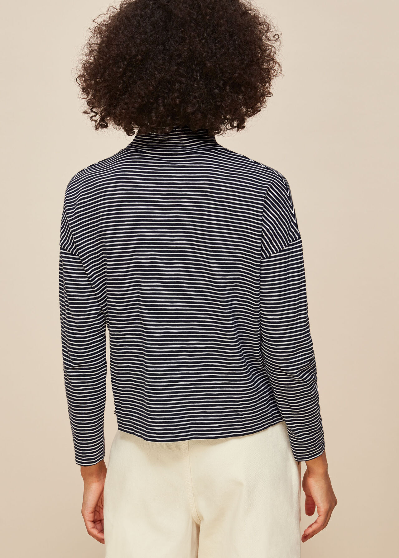 Stripe High Neck Relaxed Top