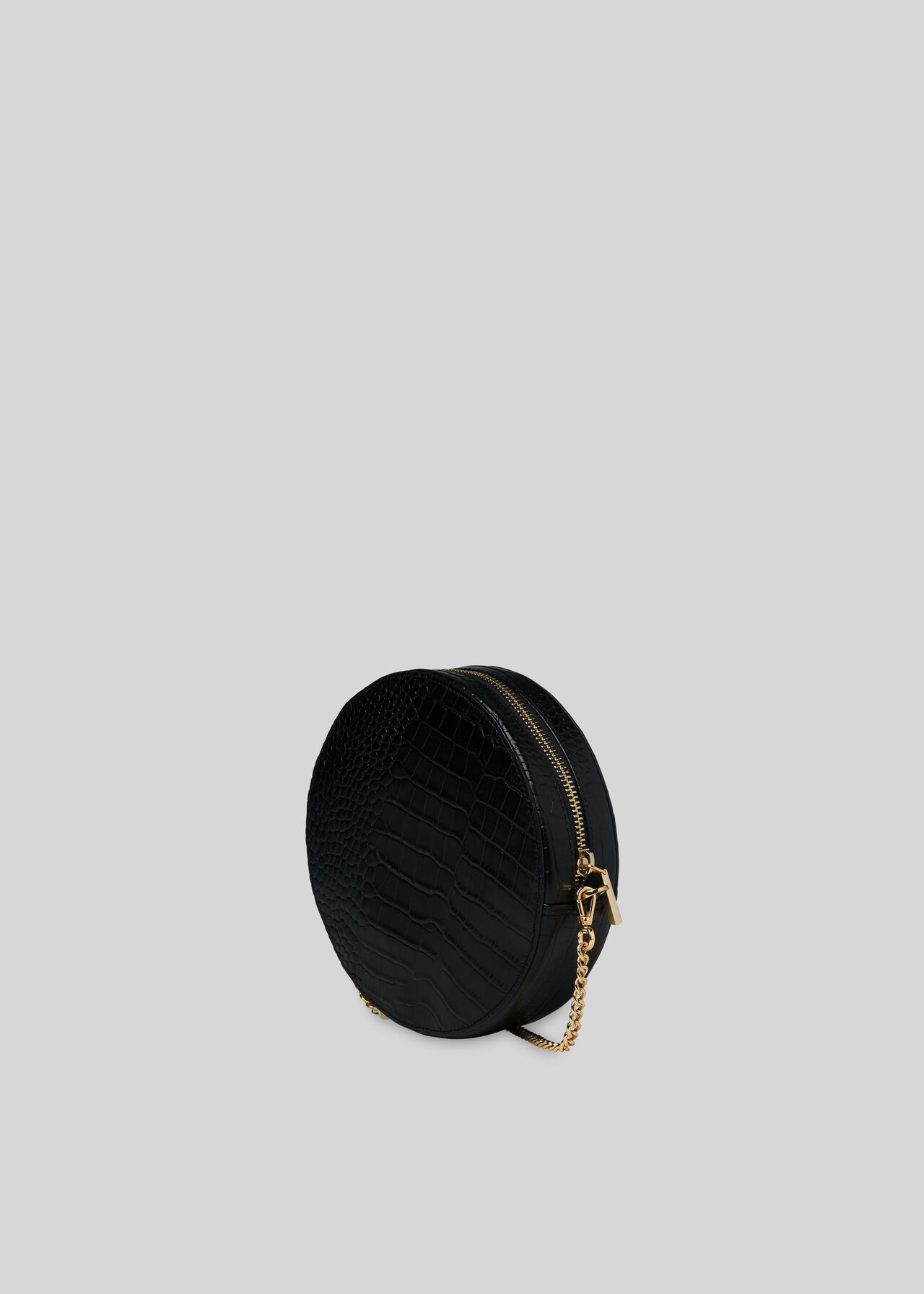 Brixton Circular Croc Bag Black