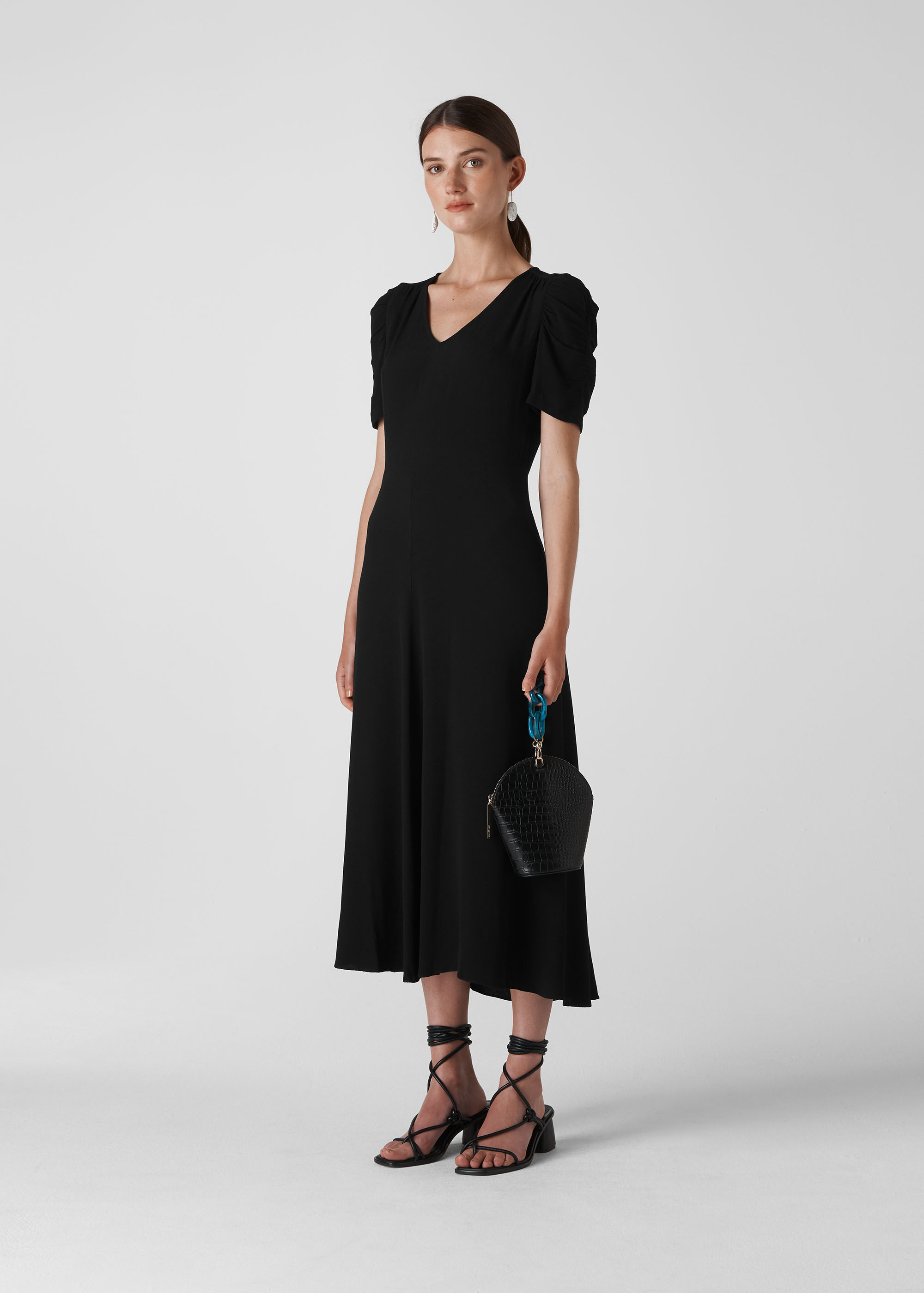 Black Jolanta Midi Dress   WHISTLES