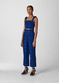 Check Pleated Trouser Blue/Multi
