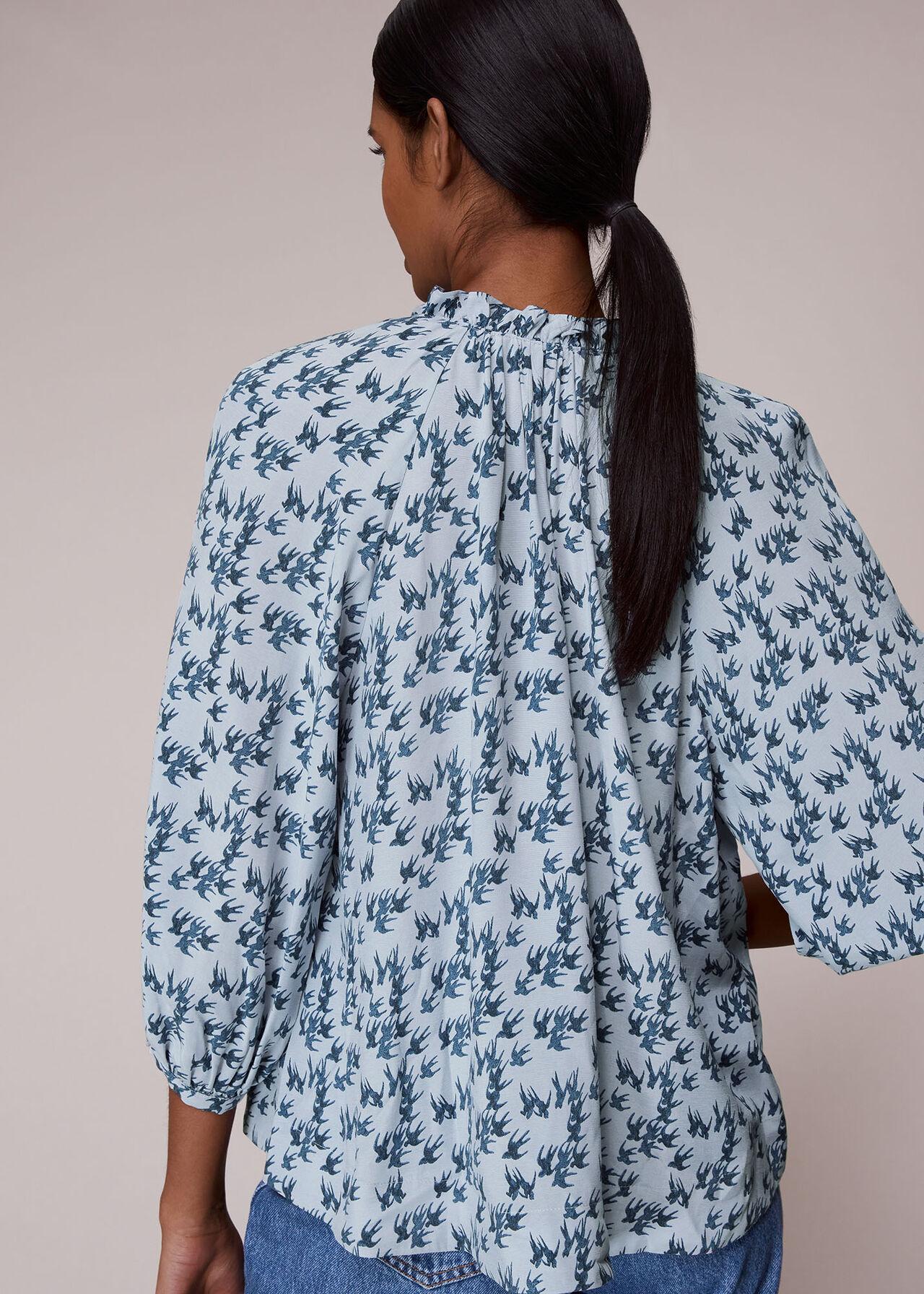 Beatrix Swallows Print Blouse