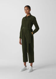 Cord Utility Jumpsuit Dark Green