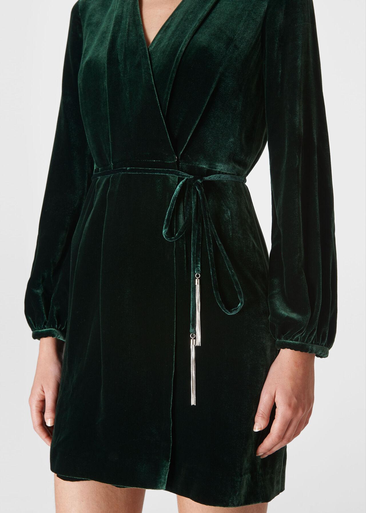 Lavone Silk Mix Velvet Dress Dark Green