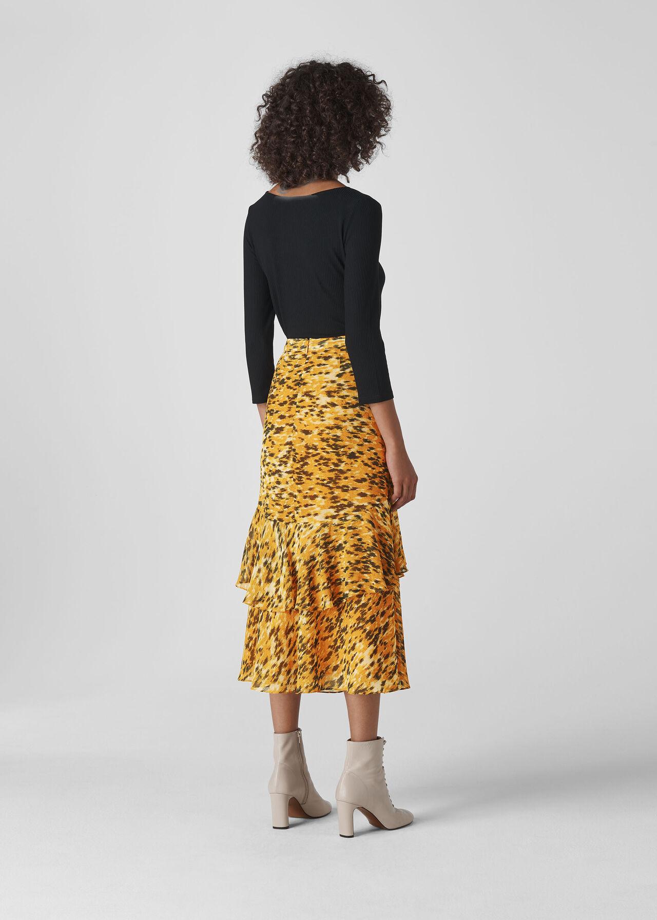 Ikat Animal Midi Skirt Yellow/Multi