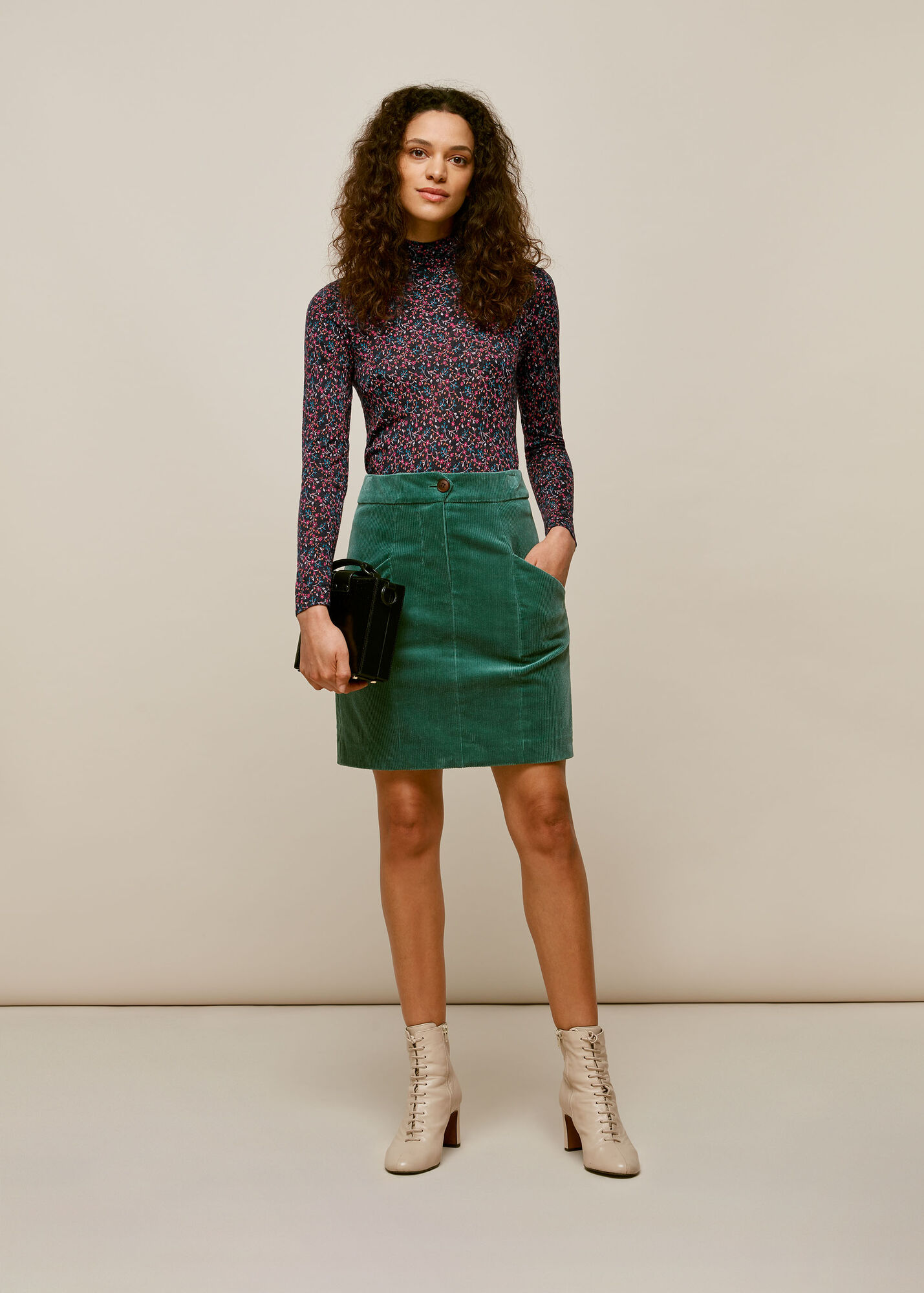 Star Print Floral Wool Mix Top
