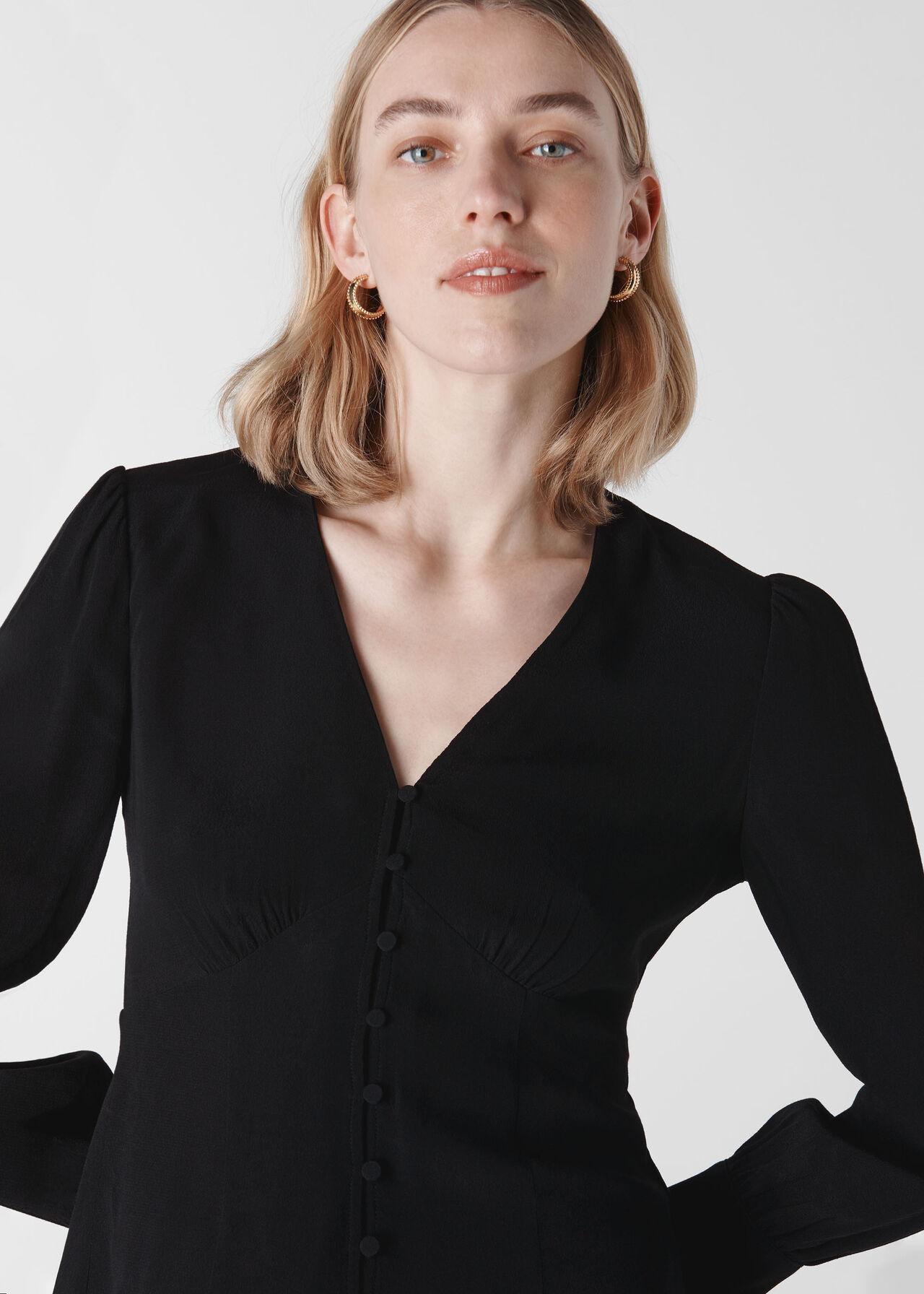 Neave Button Through Top Black