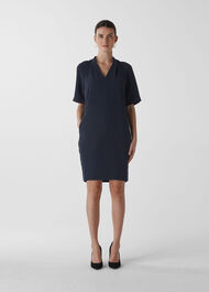 Devyn Crepe Dress Navy