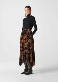 Ari Hibiscus Belted Skirt Brown/Multi