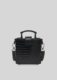 Estar Shiny Croc Box Bag Black