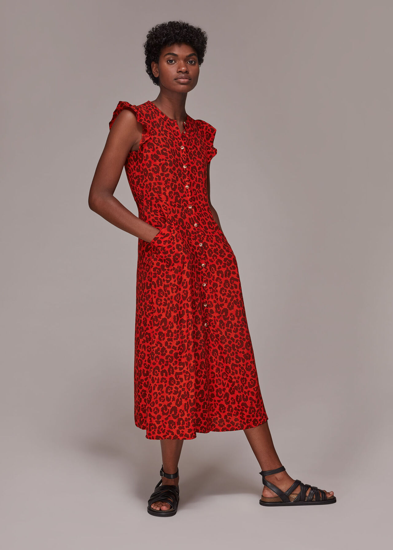 Animal Frill Sleeve Midi Dress