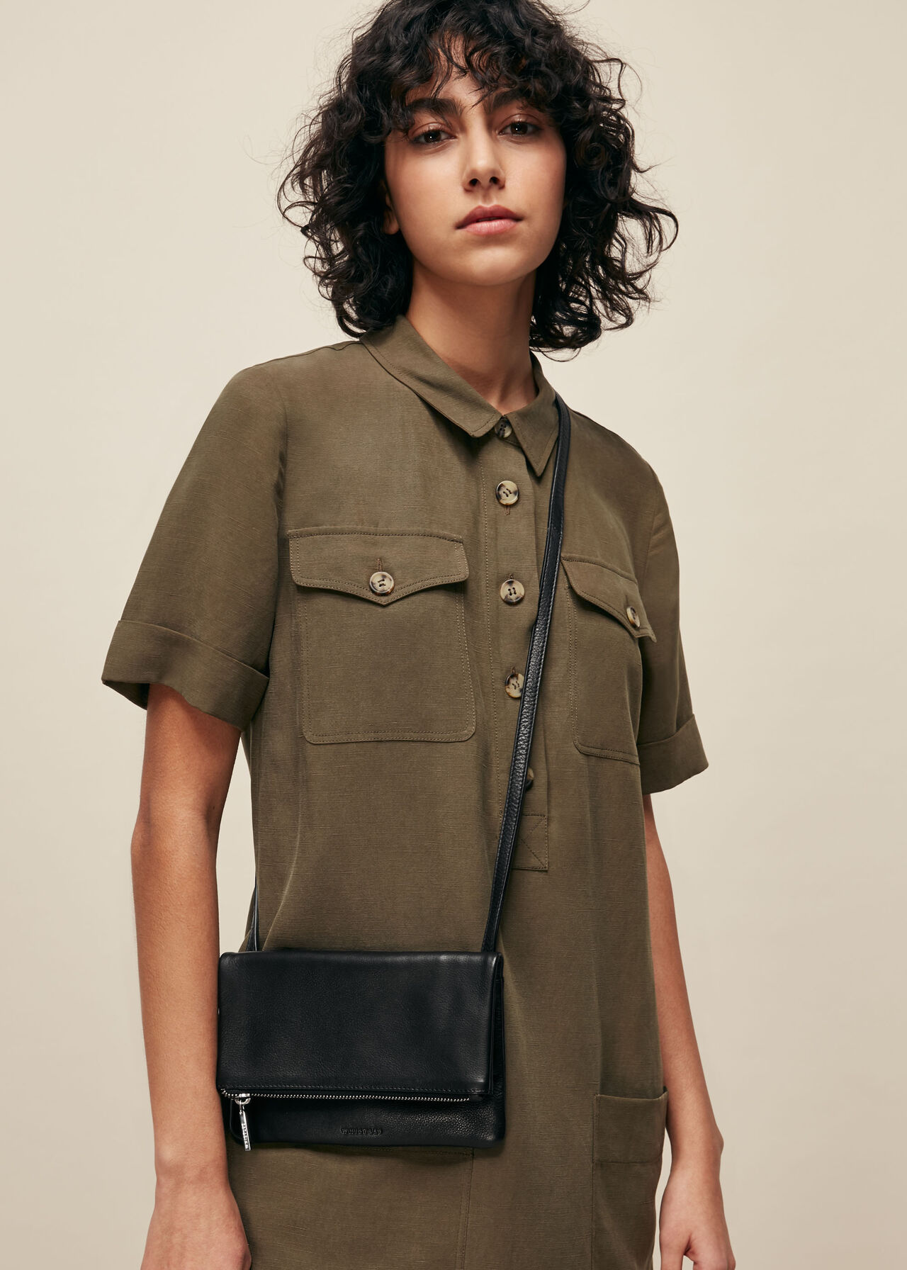 Issy Mini Foldover Bag Black
