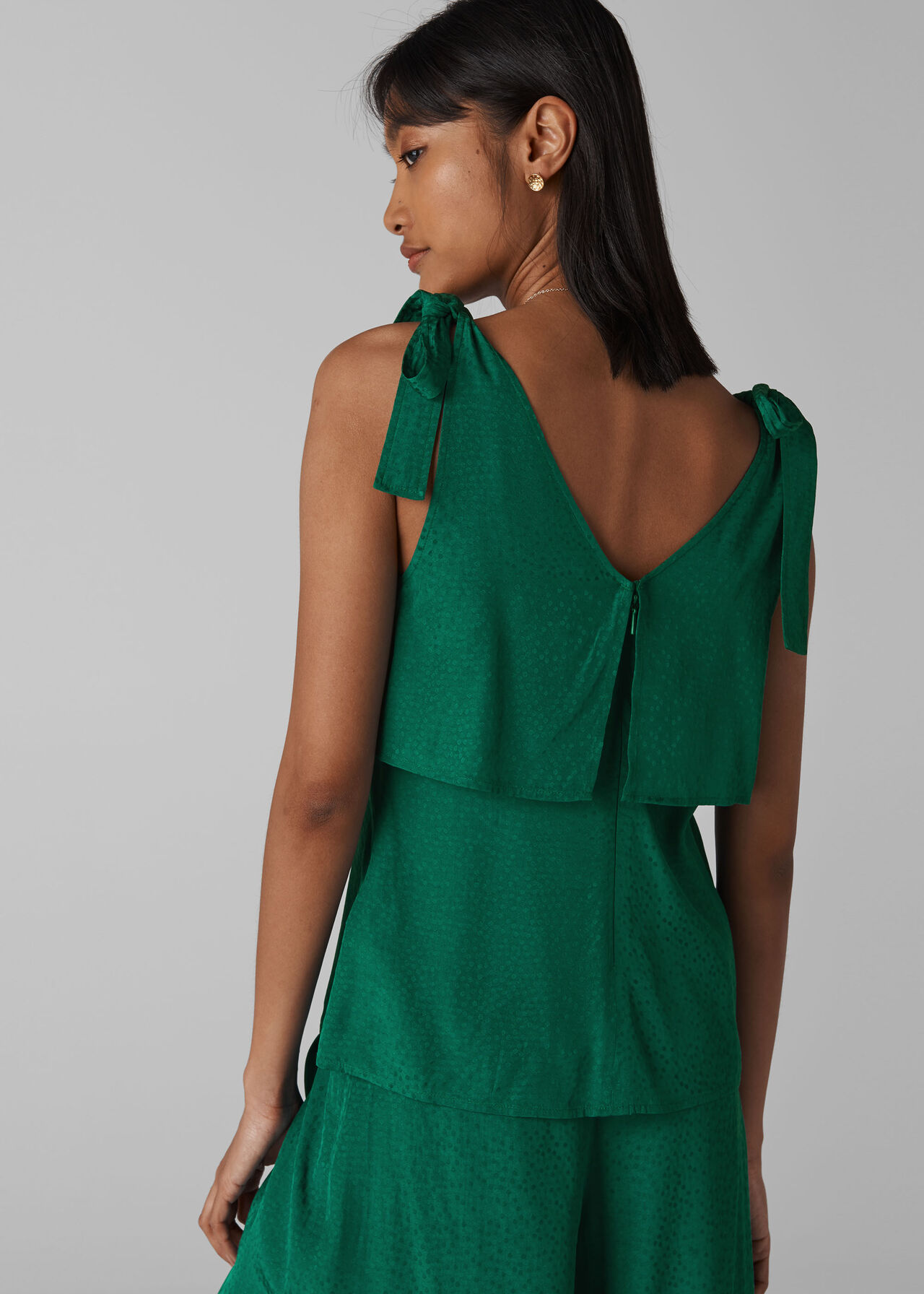 Jacquard Tie Shoulder Top Green