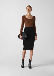 Velvet Jersey Tube Skirt Black