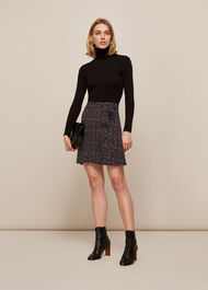 Starflower Print Wrap Skirt Black/Multi