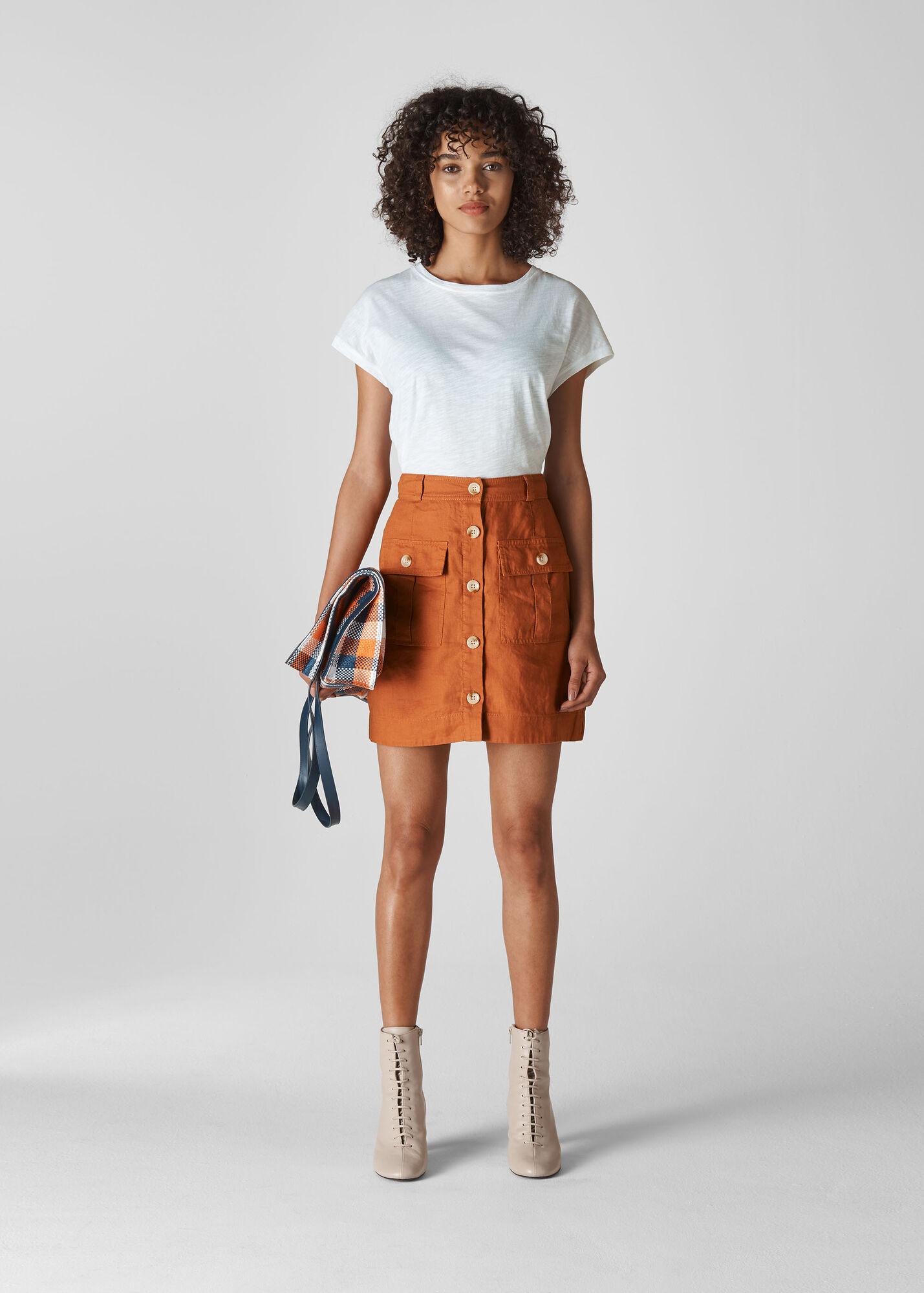 Linen Pocket A Line Skirt