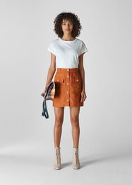 Linen Pocket A Line Skirt Rust