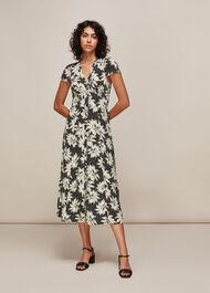 Starburst Floral Print Dress Black/Multi