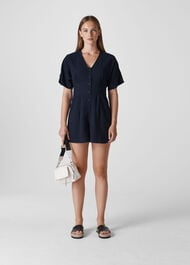 Button Detail Playsuit Navy