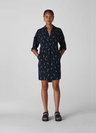 Brushstroke Print Lola Dress Navy/Multi