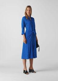 Abstract Spot Selma Tie Dress Blue/Multi