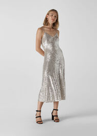 Dagma Sequin Slip Dress Silver
