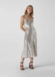 Dagma Sequin Slip Dress Silver