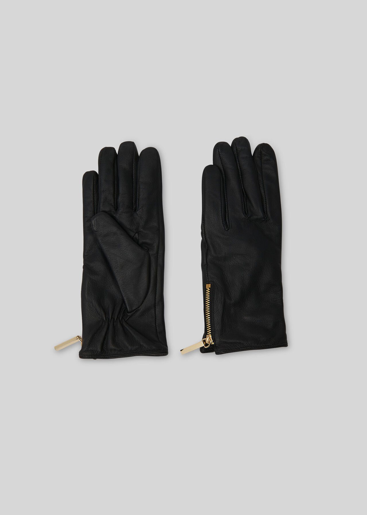 Zip Detail Leather Glove Black