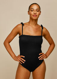 Shirred Tie Strap Swimsuit Black