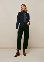 Selena Cropped Suede Jacket Navy