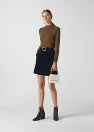 Cord Resin Buckle Skirt Navy