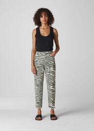 Zebra High Waist Barrel Jean Zebra Print