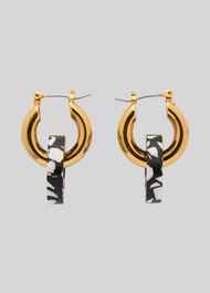 Marble Double Tube Hoop Gold/Multi